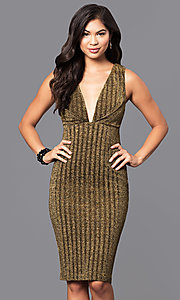 Deep V-Neck Knee Length Party Dress