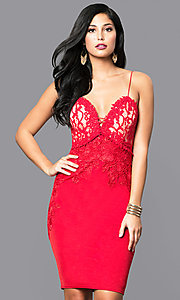 Red Knee-Length Lace Bodice Party Dress