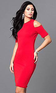 Short Red Short-Sleeve Holiday Party Dress