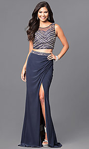 Two-Piece Long Beaded Bodice Prom Dress