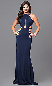Long High-Neck Prom Dress with Cut Outs