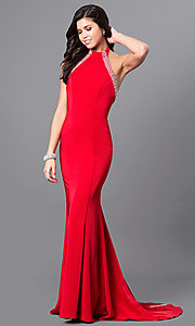 Long Red Halter Open Back Prom Dress