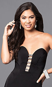 Image of strapless black long prom dress with rhinestone accents. Style: MF-E2102 Detail Image 1