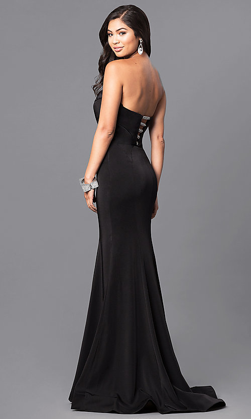 Image of strapless black long prom dress with rhinestone accents. Style: MF-E2102 Back Image