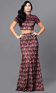 Wine Red Long Two-Piece Lace Prom Dress
