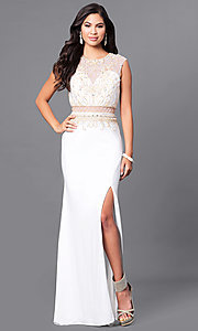 Long Ivory Prom Dress with Sheer Waist