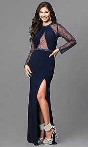 Long Sleeve Prom Dress with Jewel Accents