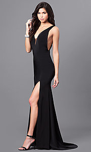 Black Deep V-Neck Open Back Prom Dress