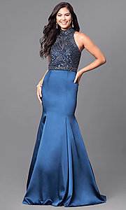 Long Midnight Blue High-Neck Prom Dress