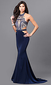 Blue Halter Prom Dress with Side Cut Outs