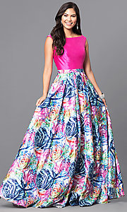 Long Sleeveless Prom Dress with Multi-Color Print Skirt