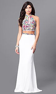 White Two Piece Embroidered Prom Dress