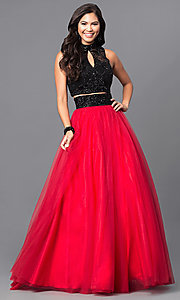 Long High-Neck Two-Piece Prom Dress