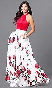 Image of long red print sleeveless prom dress with pockets. Style: MF-E2161 Front Image