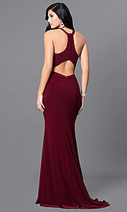 Image of wine red long prom dress with midriff cut out. Style: MF-E2101 Back Image