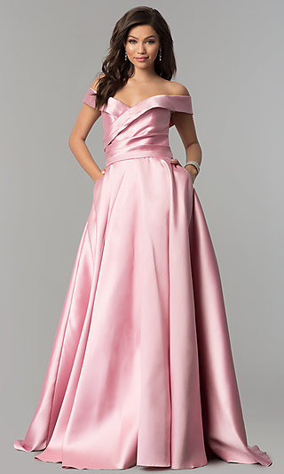Long Off-the-Shoulder Prom Dress with Pockets