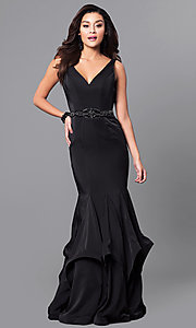 Black Open Back V-Neck Mermaid Prom Dress