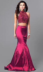Wine Red Long Two-Piece Open-Back Prom Dress