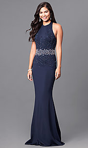 Open-Back Midnight Blue Long Halter Prom Dress