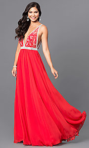 V-Neck Long Red Prom Dress with Beaded Bodice