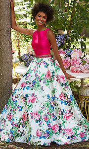 Long Print Two Piece Mori Lee Prom Dress