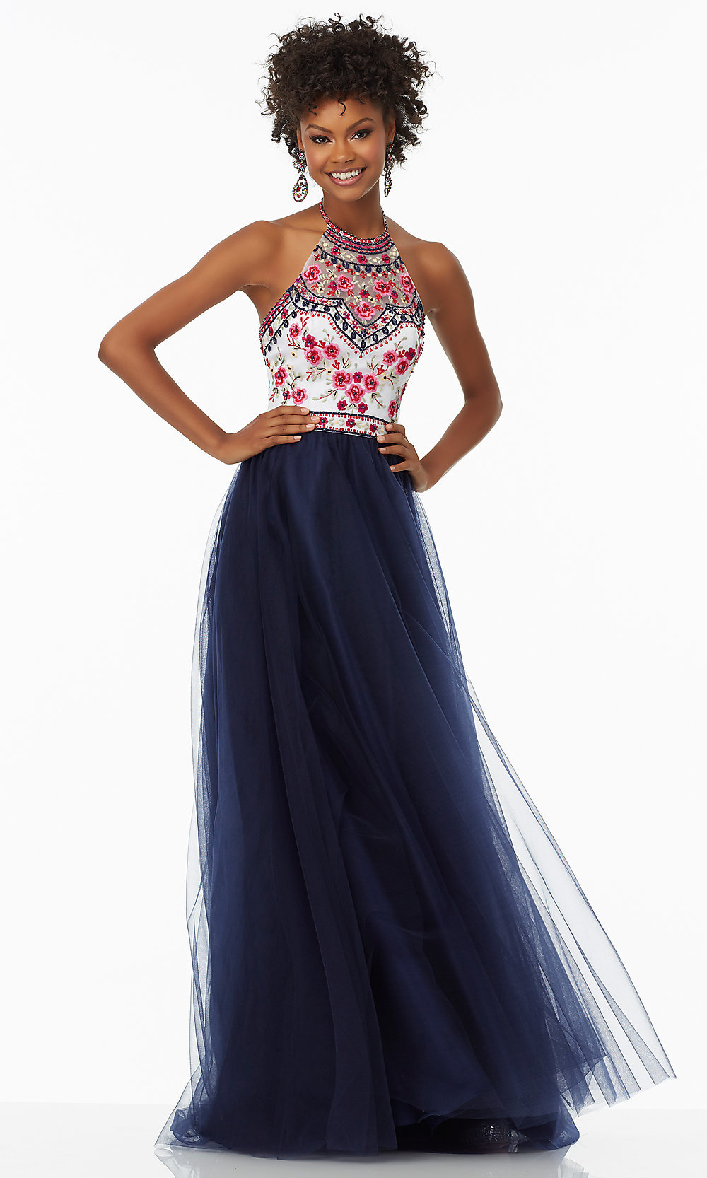 Embroidered Halter-Bodice Long Prom Dress - PromGirl