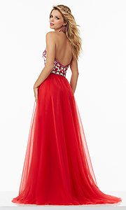 Image of tulle prom dress with embroidered open-back bodice. Style: ML-99016 Back Image