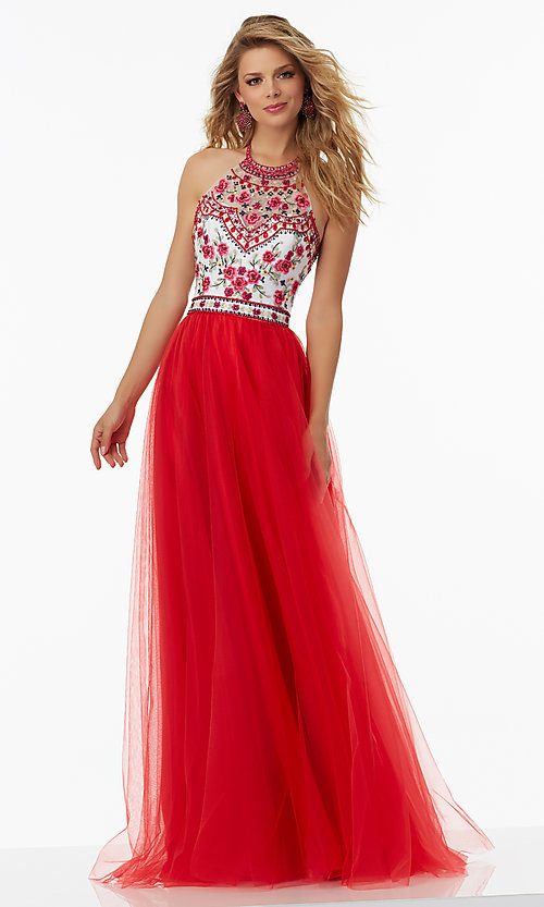 Image of tulle prom dress with embroidered open-back bodice. Style: ML-99016 Detail Image 1