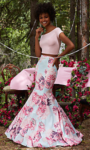 Mermaid Style Print Two Piece Prom Dress