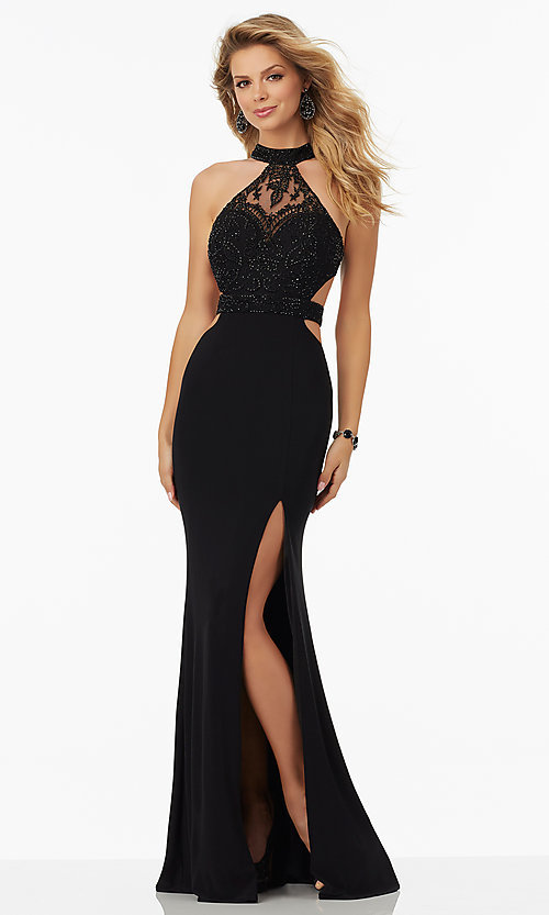 Image of long lace high-neck jersey open-back prom dress. Style: ML-99097 Front Image