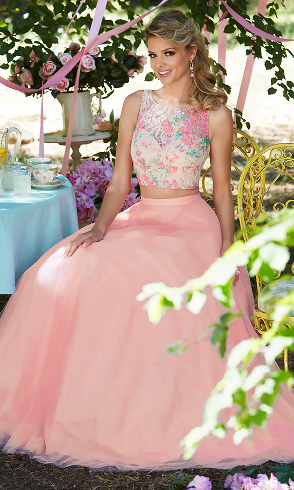 Mori Lee Pink Two Piece Long Prom Dress Promgirl