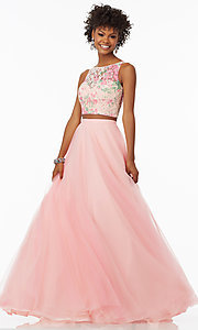 Image of rosette pink two-piece long prom dress by Mori Lee. Style: ML-99118 Front Image