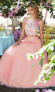 Image of rosette pink two-piece long prom dress by Mori Lee. Style: ML-99118 Detail Image 2