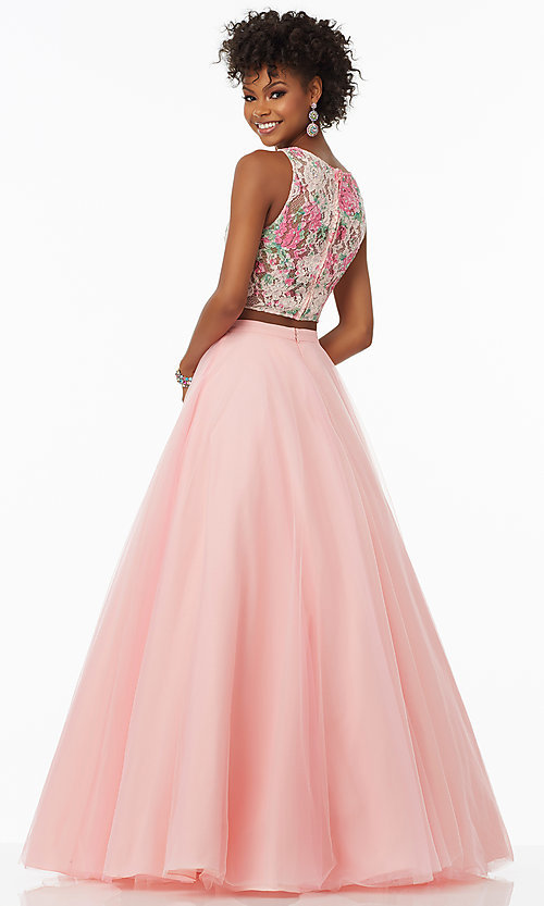 Image of rosette pink two-piece long prom dress by Mori Lee. Style: ML-99118 Back Image