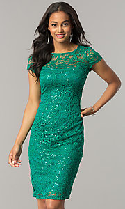 Image of cap-sleeve knee-length lace party dress with sequins. Style: JU-MA-262700i Detail Image 2