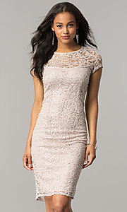 Image of cap-sleeve knee-length lace party dress with sequins. Style: JU-MA-262700i Front Image