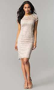 Image of cap-sleeve knee-length lace party dress with sequins. Style: JU-MA-262700i Detail Image 1