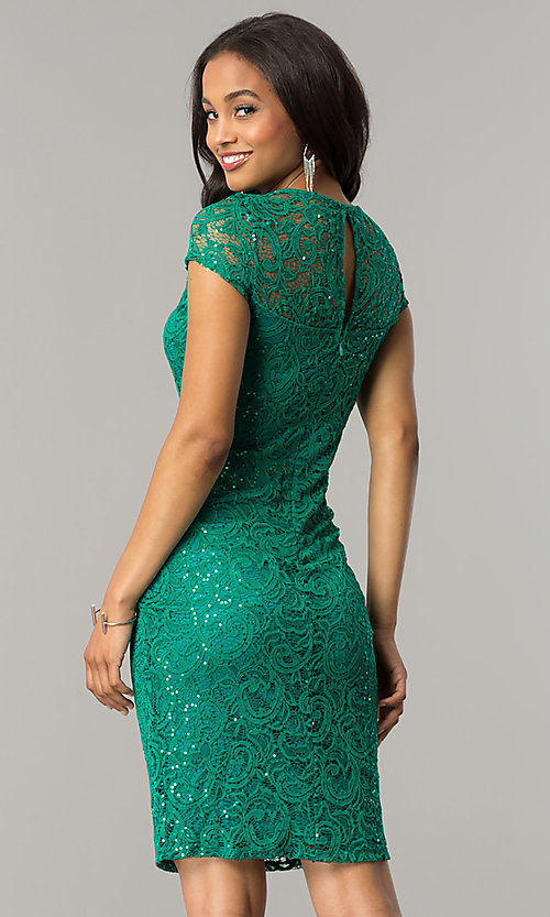 Image of cap-sleeve knee-length lace party dress with sequins. Style: JU-MA-262700i Detail Image 3