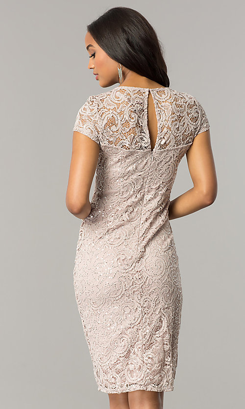 Image of cap-sleeve knee-length lace party dress with sequins. Style: JU-MA-262700i Back Image
