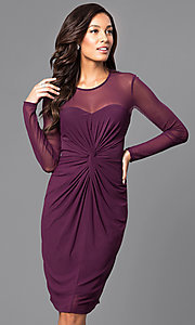 Knee-Length Sleeved Party Dress with Ruched Waist