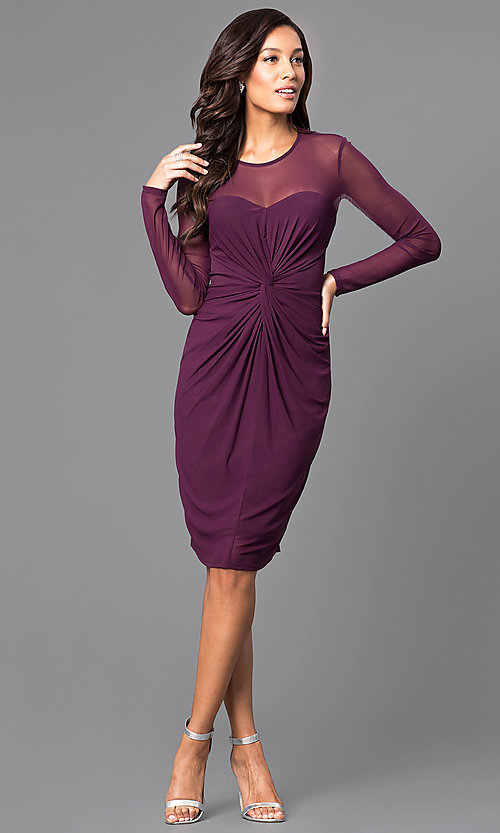 Image of knee-length sleeved party dress with ruched waist. Style: JU-MA-263147 Detail Image 1