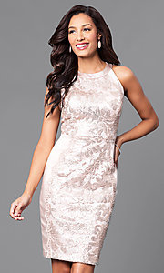 Sleeveless Knee-Length Sequin and Lace Party Dress
