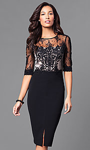 Midi-Length Black Dress with Lace and Sheer Bodice