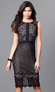 Short Black Lace Holiday Party Dress