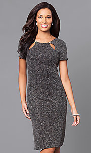 Glitter Knee-Length Dress with Neckline Cut Outs