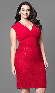 Plus Size Lace Homecoming Dress with Empire Waist