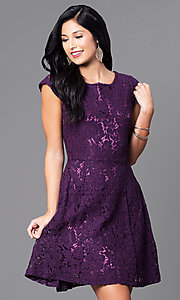 Short Cap-Sleeve Lace Party Dress