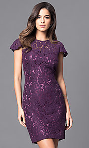 Image of short sheath lace party dress with flutter sleeves. Style: AM-2543U421 Front Image