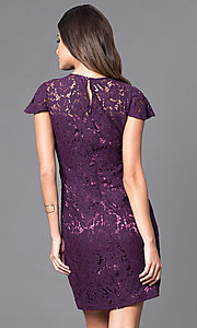 Image of short sheath lace party dress with flutter sleeves. Style: AM-2543U421 Back Image