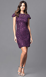 Image of short sheath lace party dress with flutter sleeves. Style: AM-2543U421 Detail Image 3